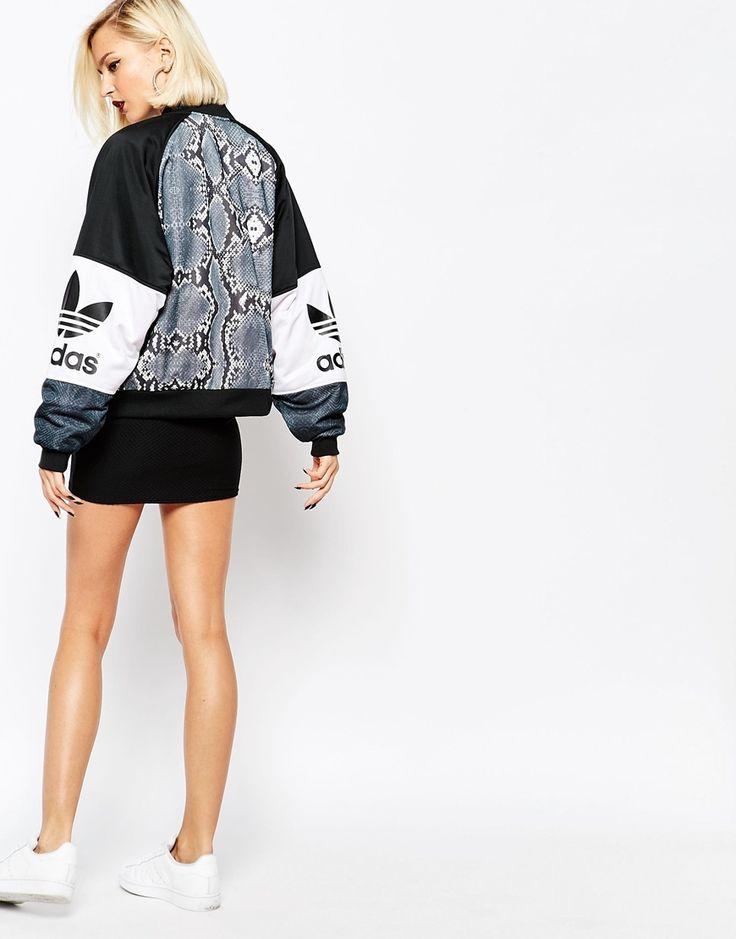 Adidas Originals Snake Print Trefoil Logo Varsity Jacket