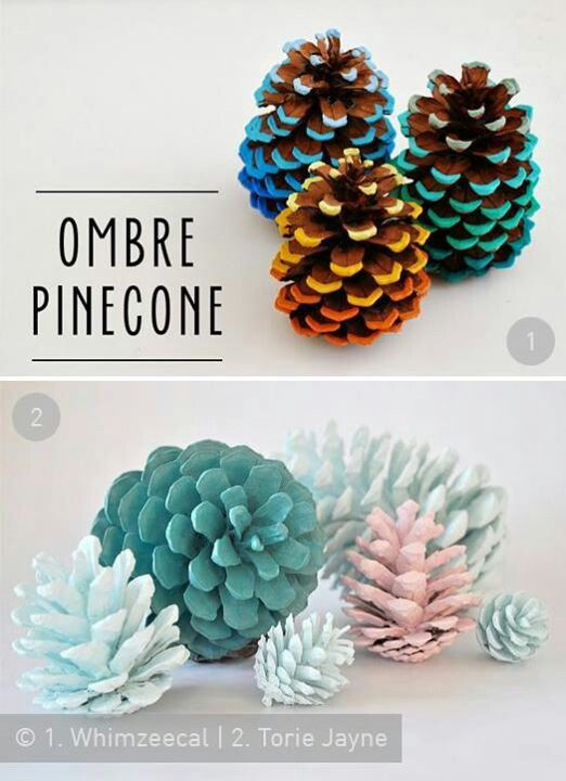 Christmas decorations - Ombre Pinecones