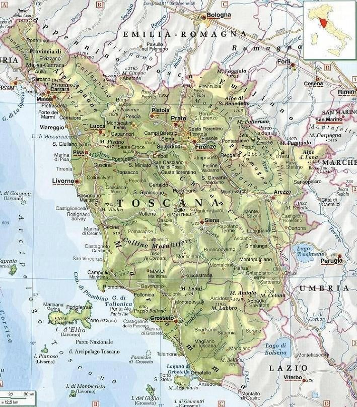Cartina Geografica Di Arezzo.Cartina Geografica Della Toscana Mappa Carta Toscana Mappa Geografia