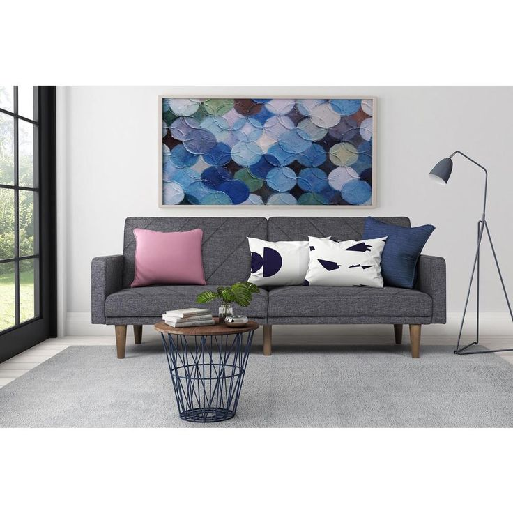Avenue Greene Paxson Grey Linen Futon Living Room Family