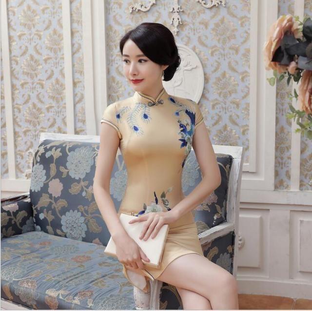 New yellow Chinese women's Style Evening silk/satin mini Dress/Cheong-sam 6 -14  | eBay