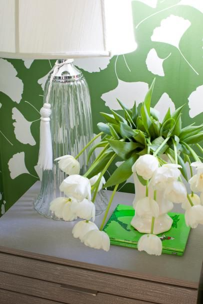 Green Girls' Bedroom With Floral Print Wallpaper
