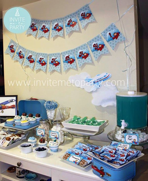 Invite Me To Party: Little Pilot Party / Little Aviator Party / Airplane Party Little Pilot Party Table