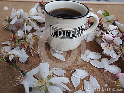 A cup of coffee and flowers