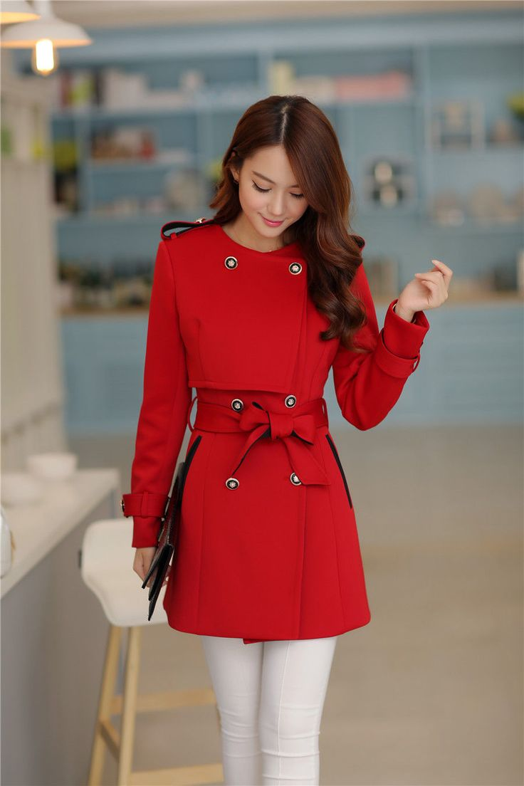 Women Slim Long Double Sleeve Breasted with Belt Trench Coats Jackets Outwear…