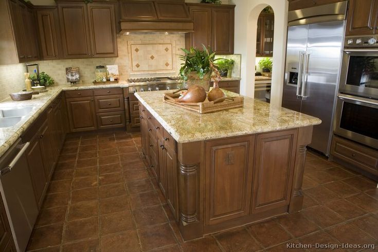 Traditional dark wood walnut kitchen cabinets rooms for Classic kitchen paint colors