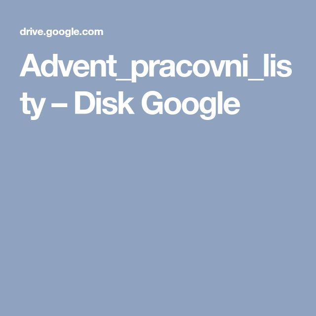 Advent_pracovni_listy – Disk Google