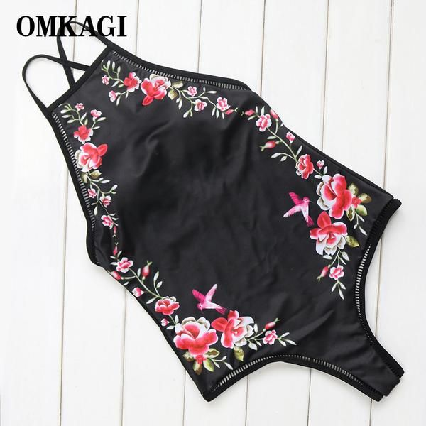 #FASHION #NEW OMKAGI National Retro Floral Embroidery Black One Piece Swimsuit Women Monokini Swimwear Summer Bandage Beach Wear Bathing…