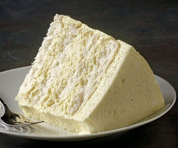 Slices of angel food cake are layered with a luscious lemon mousse right in the cake pan...dee-lish!