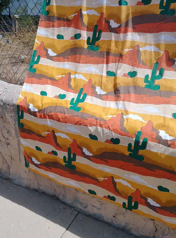 Vintage 1970s Sheet Desert Landscape Southwestern Cactus