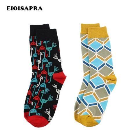 2c77e0f4a EIOISAPRA British Bird Rhombus Pattern Happy Socks Men Warm Business Funny  Socks Harajuku Colorful Meias Unisex Dress Calcetines