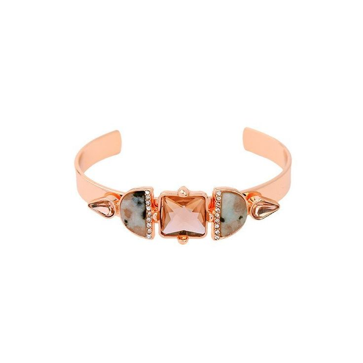 Fashion Bangle - Tynlee Rose Gold-Plated Trendy Bangle With Natural Stone