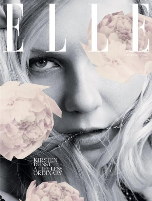 Kirsten Dunst for Elle Issue Sep/2011 | Magazine Cover: graphic design, typography, photography |