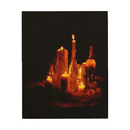 Mystical romantic candle light wood print - romantic gifts ideas love beautiful