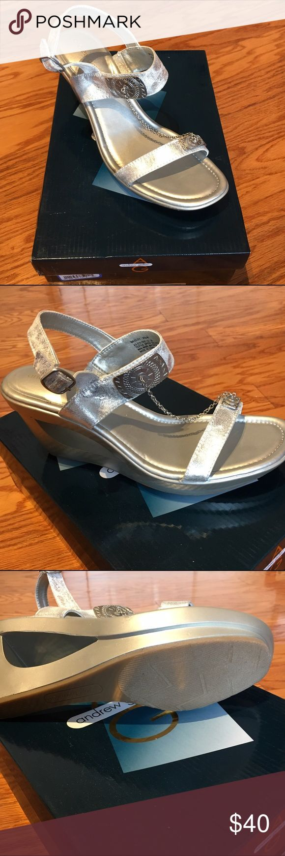 Silver wedge sandals 💗 Silver wedge sandal with chain accent toe to ankle band. New in Box! Andrew Geller Shoes Wedges