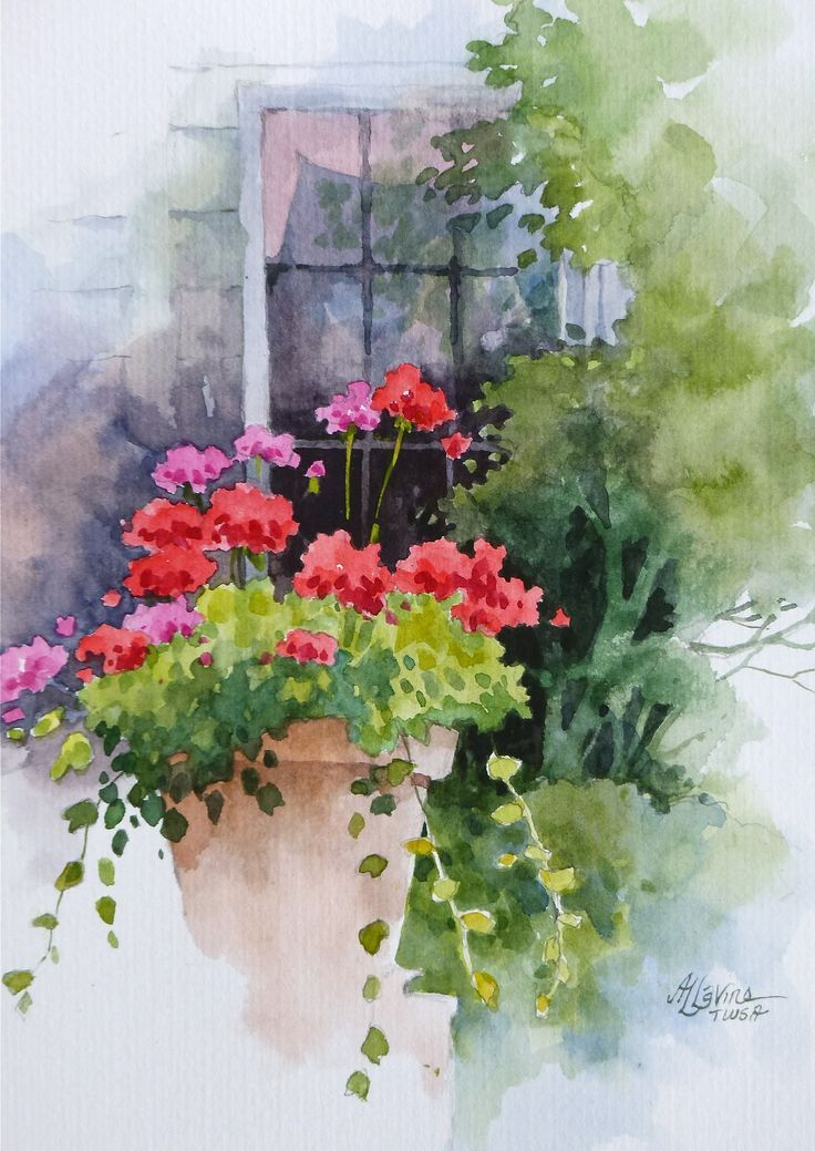 """""""All Decked Out,"""" watercolor on cold pressed paper, SOLD"""