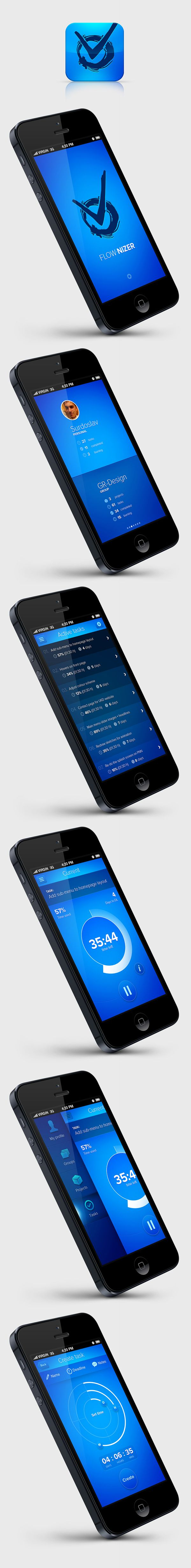 FLOW.NIZER  concept app by Martin Schurdak, via Behance