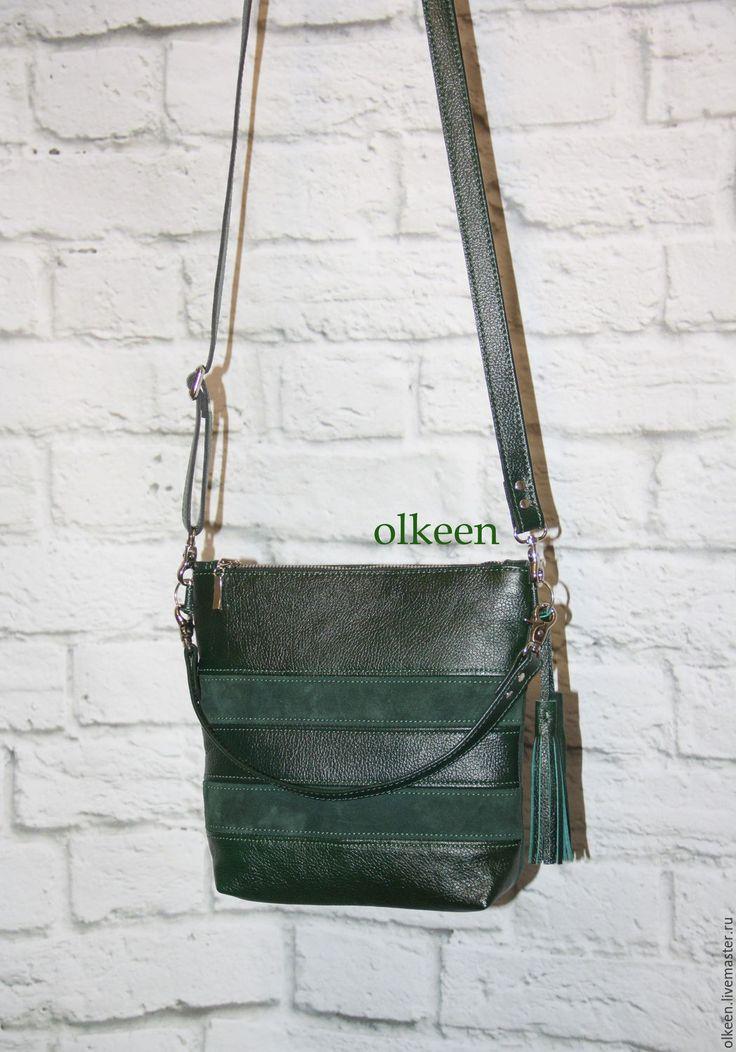 Купить Сумка кожаная Olivia мини изумрудная - тёмно-зелёный, сумка ручной работы, сумка
