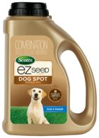 Unique mix of Scotts best grass seed, a neutralizing** ingredient, and a super absorbent growing material. Special salt neutralizer** minimizes the effects of salts from dog urine. Repairs urine spots, high traffic areas, and damage from digging. Growing material absorbs water like a sponge to surround the seed in a moist layer which protects seed from drying out and dying out. It even turns light brown to tell you when it needs more water! EZ Seed® is kid and pet friendly when used ...
