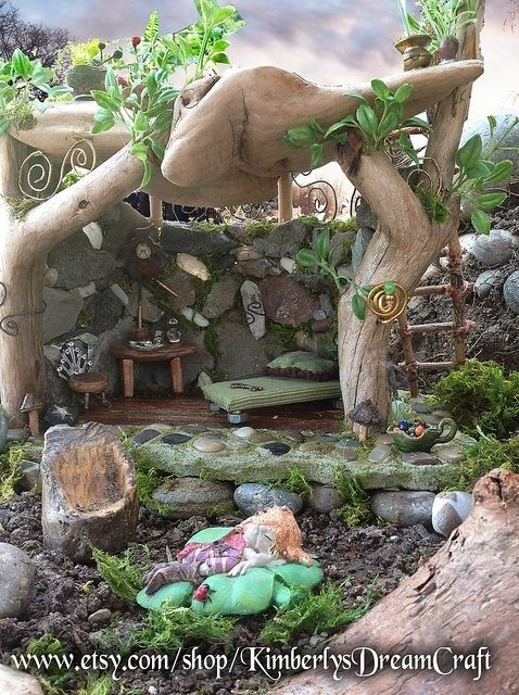 This looks like a Tofino-style garden! 34. Go Wood #Hunting - 48 Fantastic Fairy #Gardens for Your Yard ... → #Gardening #Fantastic