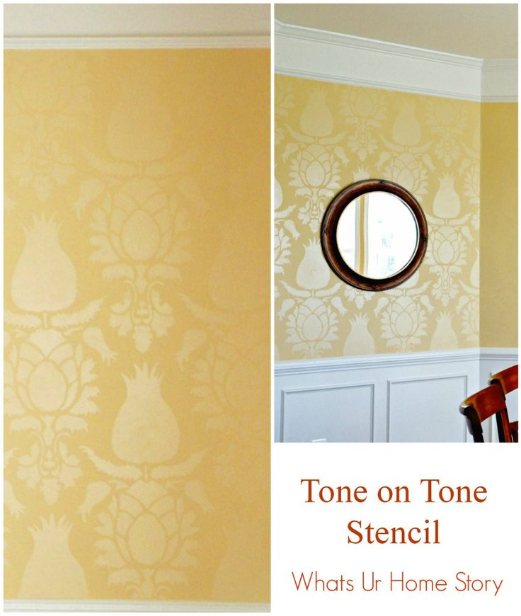 Tone on tone stencil effect in a neutral dining room. Step by step tutorial on how to get this effect