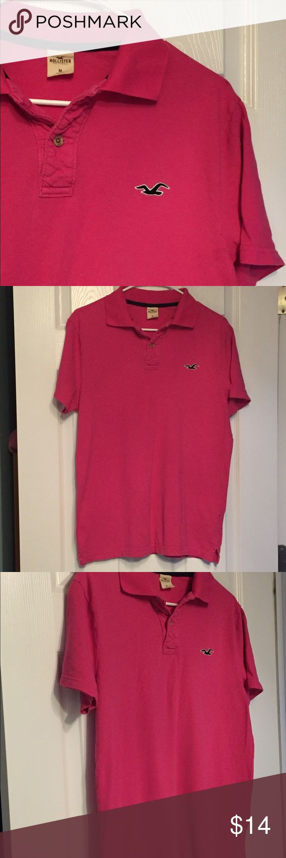 Dark pink polo shirt Hollister Men's size medium, dark pink Hollister polo shirt. Perfect condition. Hollister Shirts Polos