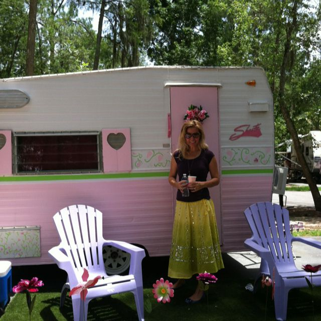My Vintage Shasta Camper I Painted The Exterior Pink And Green It Was Ugly Dark Tan Hubby Dad Rebuilt Inside Glamping In Style