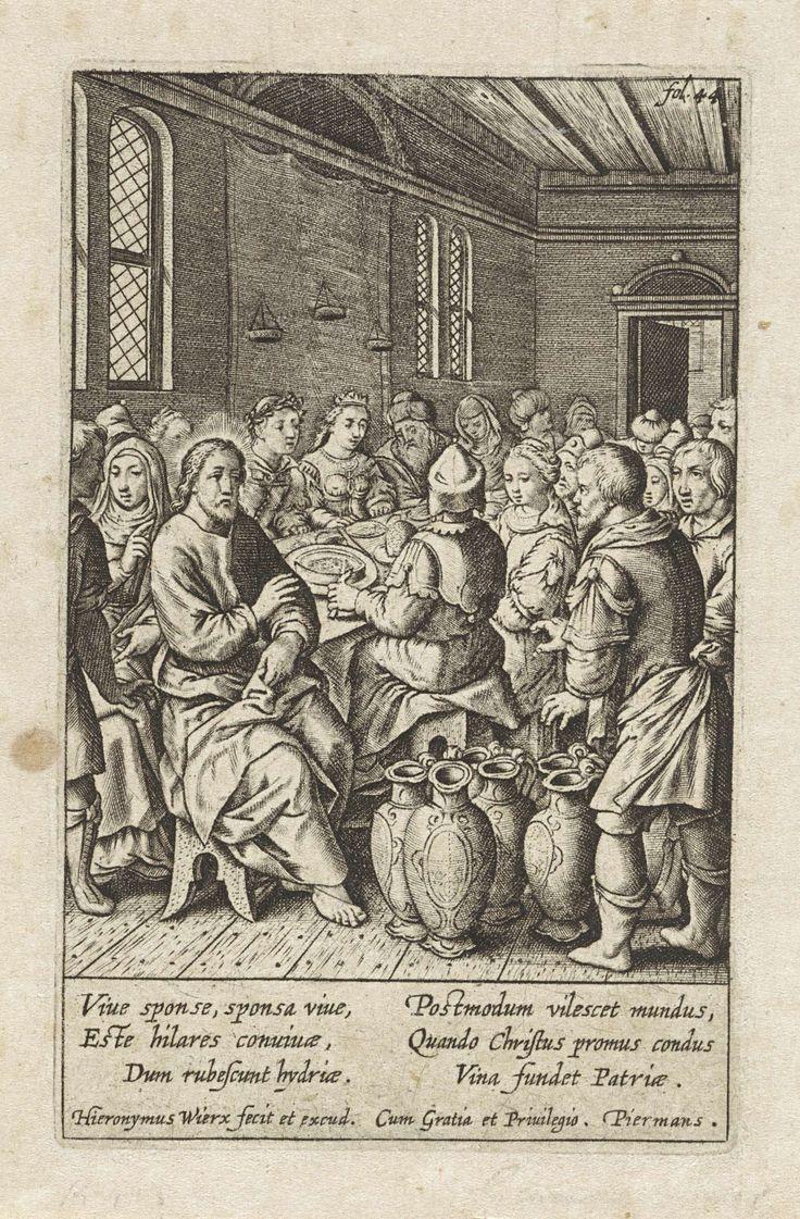 Hieronymus Wierix | Bruiloft te Kana, Hieronymus Wierix, 1563 - before 1619 | Het bruidspaar en de gasten zitten rond een tafel. Christus zegent de wijnvaten nadat Maria hem er op heeft gewezen dat er geen wijn meer is. Het water in de vaten wordt wijn. In de marge een zesregelig onderschrift, in twee kolommen, in het Latijn. Rechtsboven gemerkt: fol. 44.