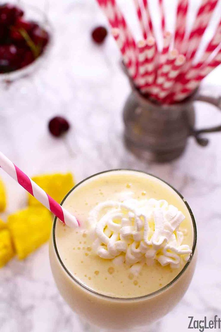 Healthy and delicious Pina Colada Smoothie made with pineapples, yogurt, bananas, coconut milk and sweetened with honey…| ZagLeft