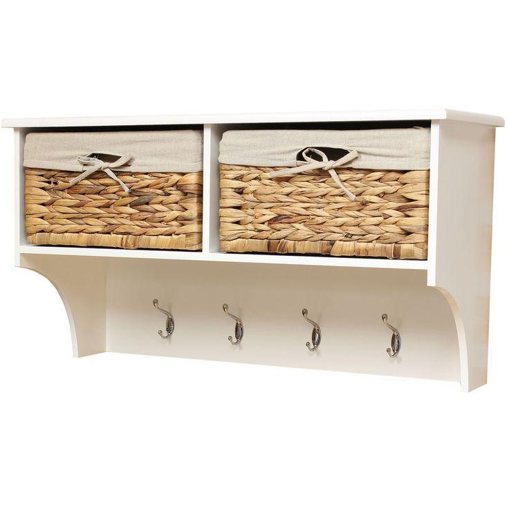 Large 4 hook porch hallway tidy wall coat rack hanger hall storage baskets  shelf