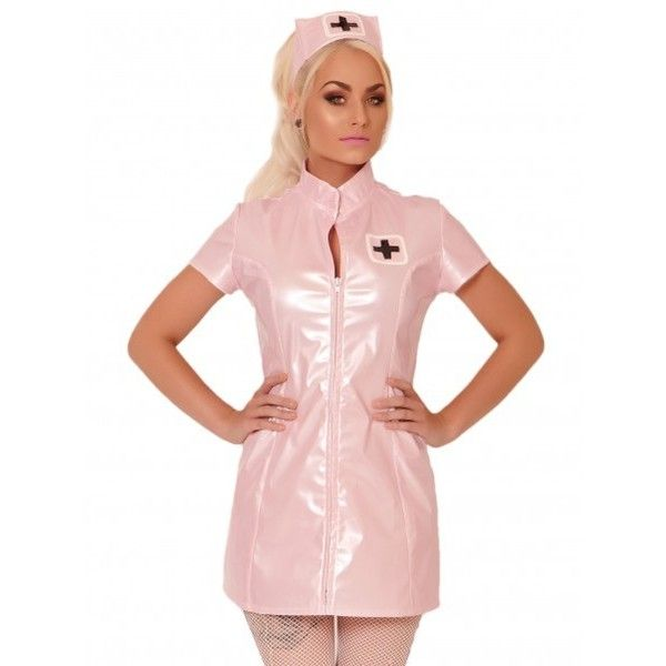 Pink PVC Nurse Joy Costume in Pink ❤ liked on Polyvore featuring costumes, nurse halloween costume, sexy nurse costume, sexy costumes, sexy halloween costumes and pink costume