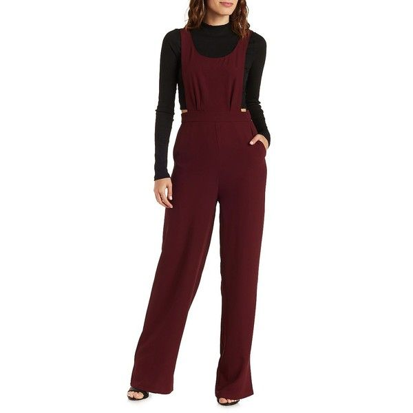 Charlotte Russe Wine E.SSUE Wide Leg Jumpsuit by Charlotte Russe at... ($63) ❤ liked on Polyvore featuring jumpsuits, wine, wide leg romper jumpsuit, fancy jumpsuits, jump suit, wide leg jumpsuit and dressy romper