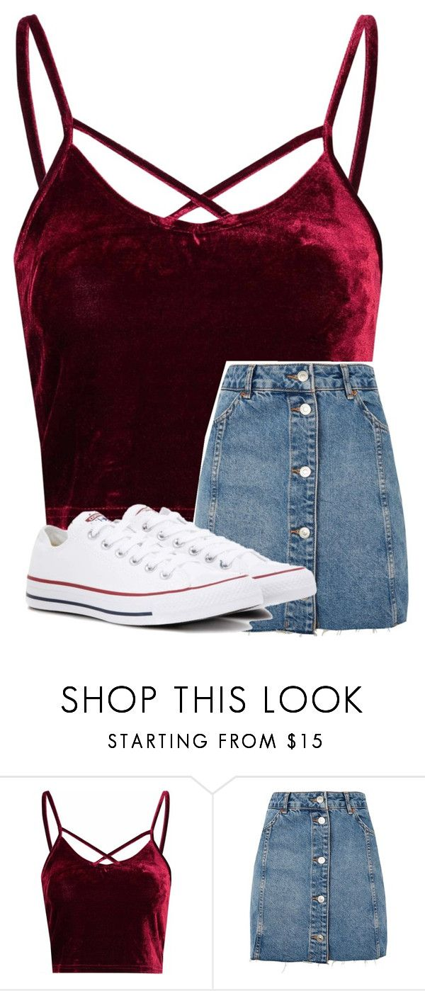 """Untitled #3837"" by laurenatria11 ❤ liked on Polyvore featuring Glamorous, Topshop and Converse"