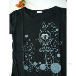 バレエTシャツ ブラック ジュニア大人用 可愛いバレリーナ柄 コットン