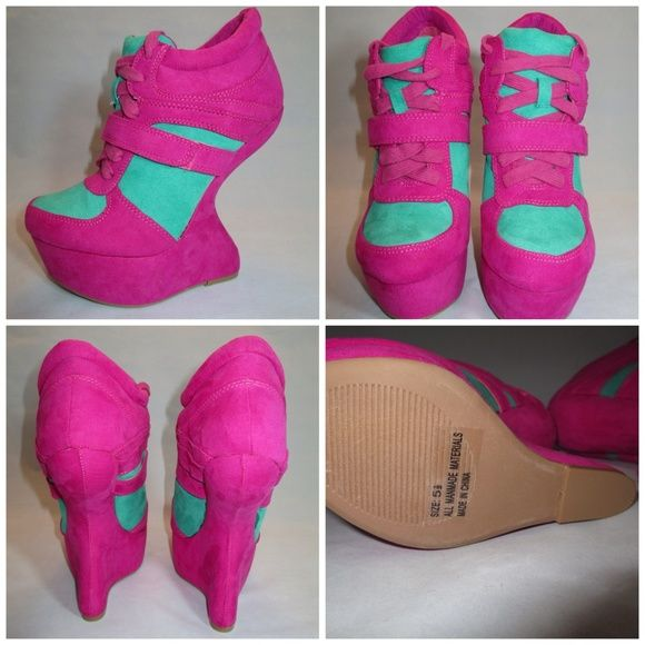 S-Heel Sneaker Wedges Hot Pink Green Size 5.5 BRAND NEW W/O BOX. Qupid Shoes Wedges