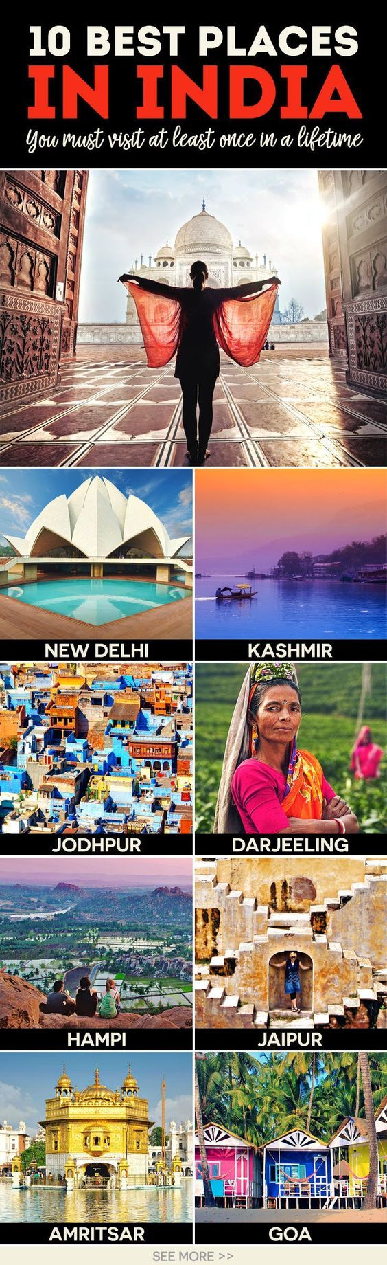 Travel India | Things to do and places to see | Golden Temple in Amritsar | 10 Best Places To Visit In India | via /Just1WayTicket/