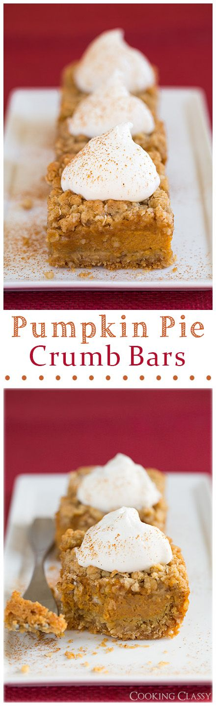 Pumpkin Pie Crumb Bars - these are always a hit! @cookingclassy