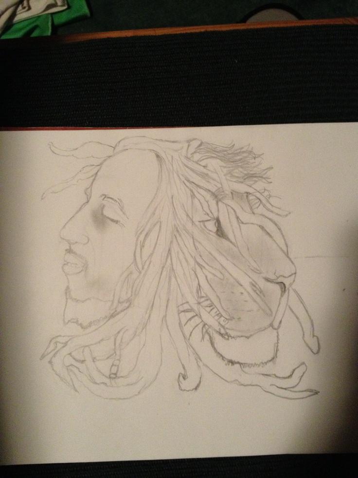 Bob Marley and Lion drawing | Drawings | Drawings, Lion ...