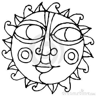 black and white sun clip art | Big Eye Sun Simple Hand Drawing Black And White Stock Image - Image ...