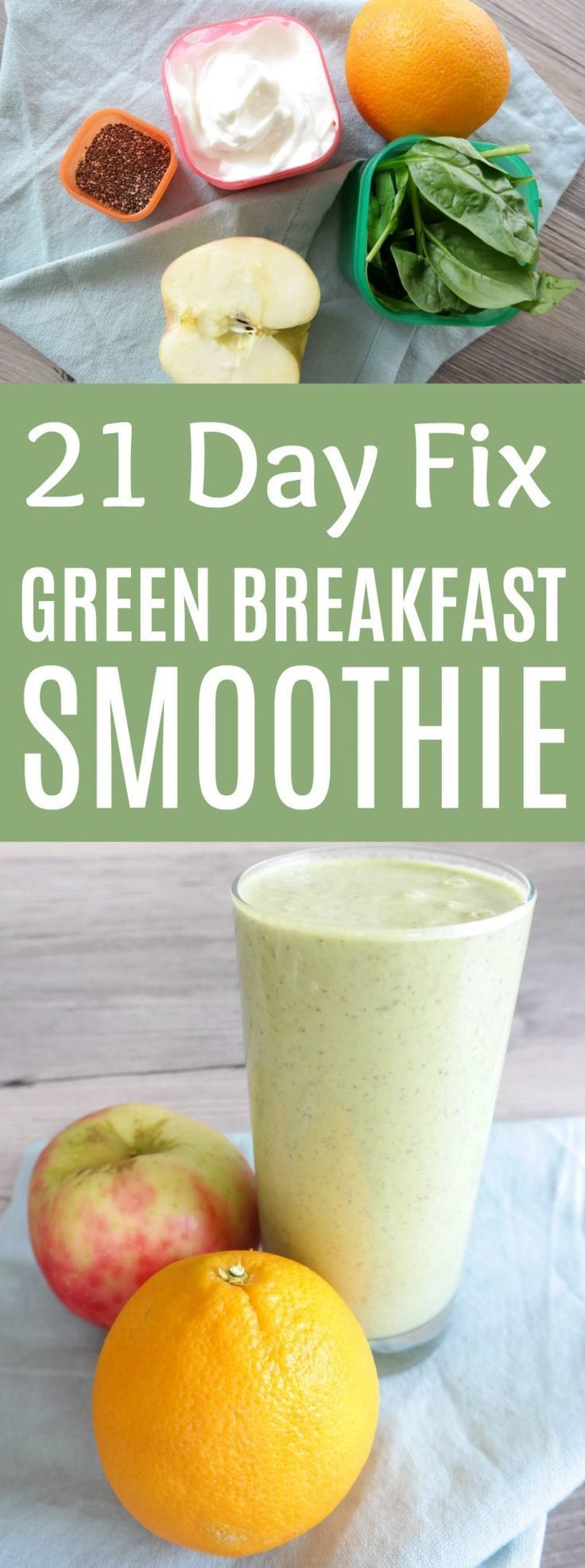 This 21 Day Fix Green Breakfast Smoothie is the perfect quick breakfast recipe! 21 Day Fix Smoothie | 21 Day Fix Breakfast Recipe | Green Smoothie Recipe