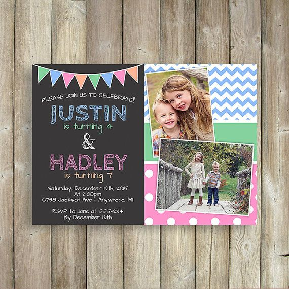 9 best sibling birthday parties images on pinterest birthday joint birthday invitation girls joint birthday party invitation twins birthday invite pink gold dual birthday digital printable any age filmwisefo Images