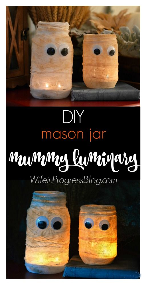 Make these spooky mason jar mummy luminaries quickly and easily with only a few basic supplies. They make for awesome Halloween decor!