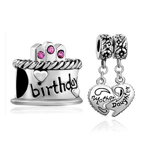 Pugster 2 Love Bead Charm Bundle Set Silver Birthday Cake Mother Daughter Heart Dangle Beads Fits Pandora Bracelet Pugster. $12.99. Color: Colorful. Weight (gram): 8.1. Metal: Two Tone. Size (mm): 19.95*9.67*27.34