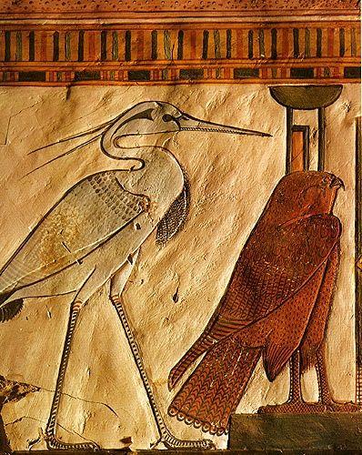 Great Heron with Falcon: Queen Nefertiti's tomb, ca. 1330 BCE