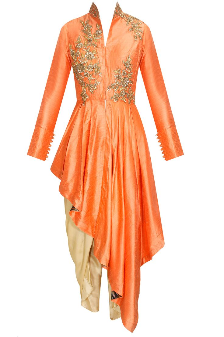 Beige floral zari embroidered anarkali set available only at Pernia's Pop-Up Shop.
