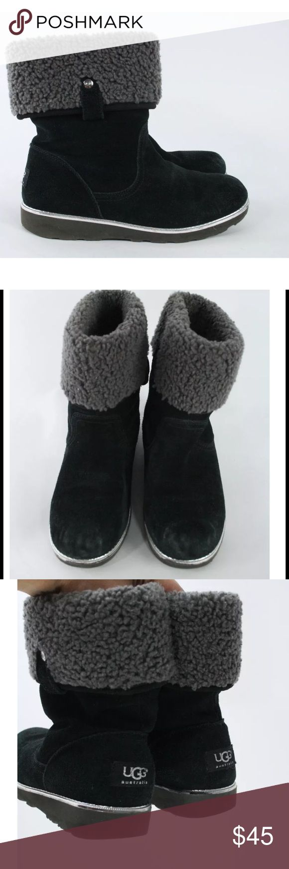 Girls' Suede Shearling Callie PullOn Boots Condition: Wear at toes and heels, minor wear to soles.  Details : From Website: Pull-on style Can be worn up or folded over to reveal sheepskin top shaft lining, UGGpure™ all other lining Rubberized 1-inch wedge sole provides traction and a little bit of extra height For cold weather and rain Real lamb fur; origin: Australia; dyed Upper: suede; insole: 10mm UGGpure™; outsole: rubberized ethylene vinyl acetate UGG Shoes Boots