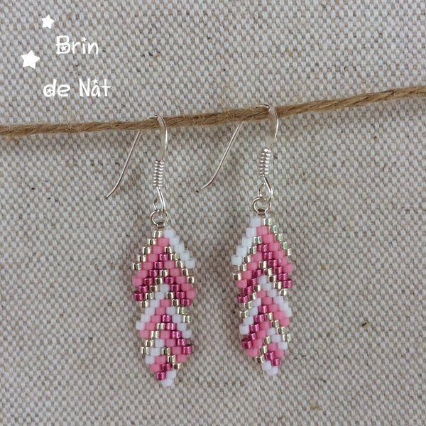 Boucles d'oreilles plumes en perles miyuki