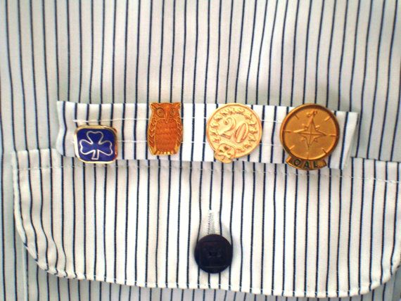 Handmade PIN TAB for Girl Guides of Canada GGC Alfred Sung Striped Uniform Blouse or Top - set of 3