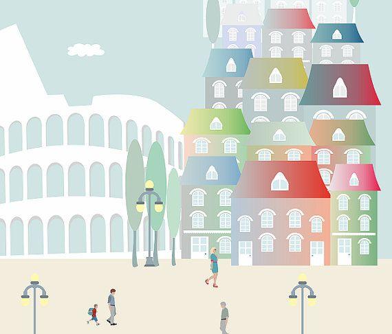 Roma ilustraciones laminas decorativas poster por Ilustracionymas