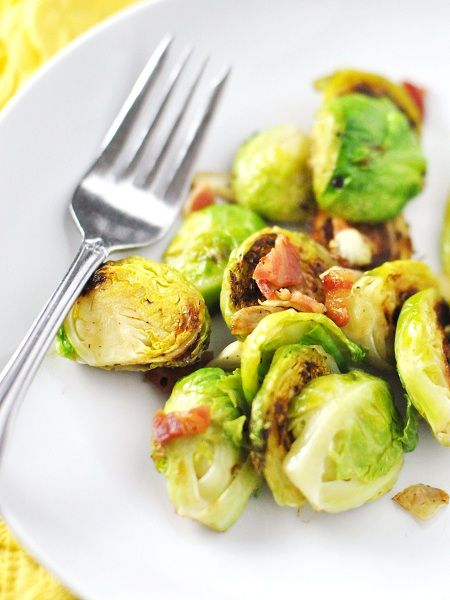 Brussel Sprouts with Pancetta (Bacon) & Garlic by Jennifer leal @savorthethyme
